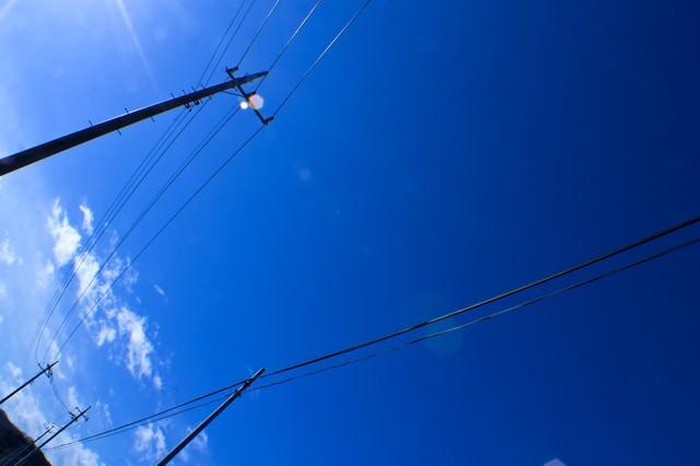 青空と電柱の写真
