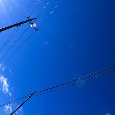 「青空と電柱」の写真素材