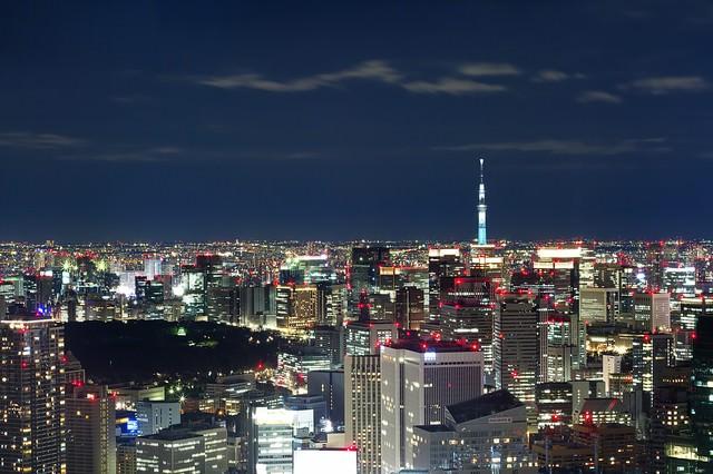 スカイツリーと東京の夜景(六本木ヒルズ展望台から)の写真