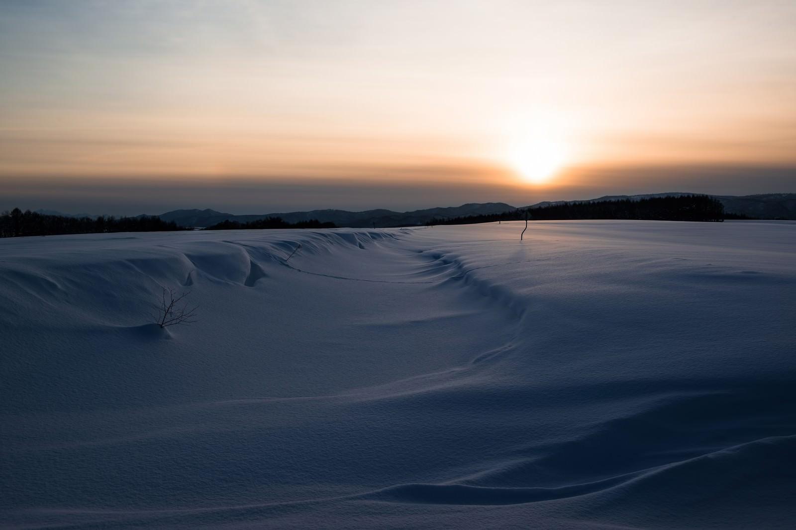 「夕焼けと雪原」の写真