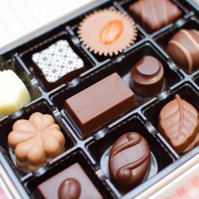 「小さなチョコレート詰め合わせ」の写真素材