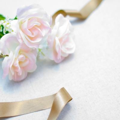 「白い薔薇とリボン」の写真素材