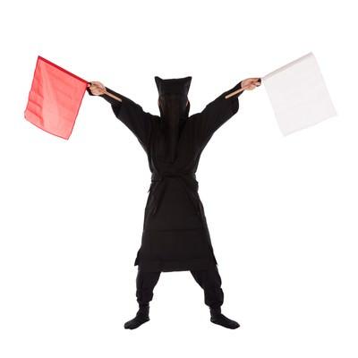 「黒子の手旗信号10」の写真素材
