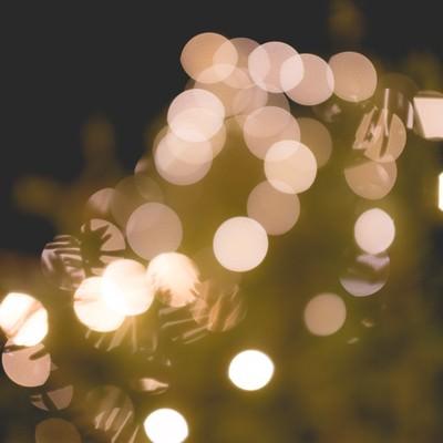 クリスマスツリーと装飾の光の写真