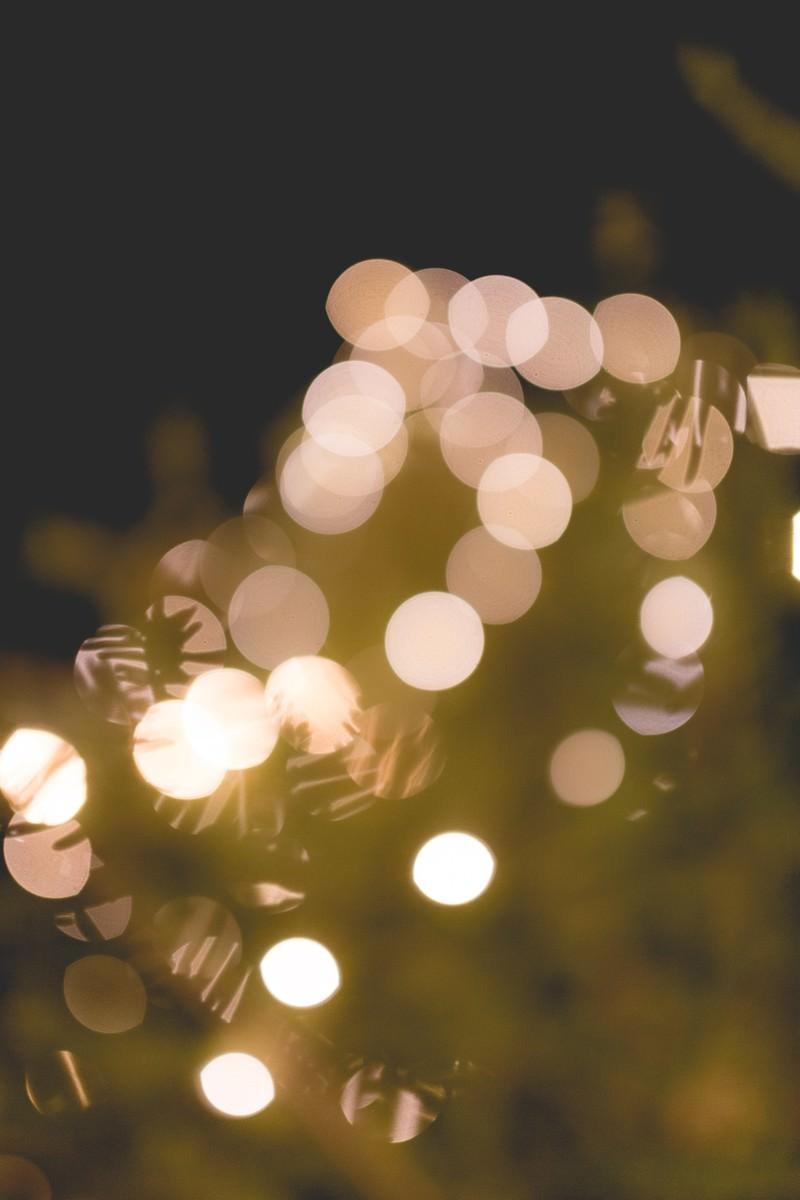 「クリスマスツリーと装飾の光」の写真