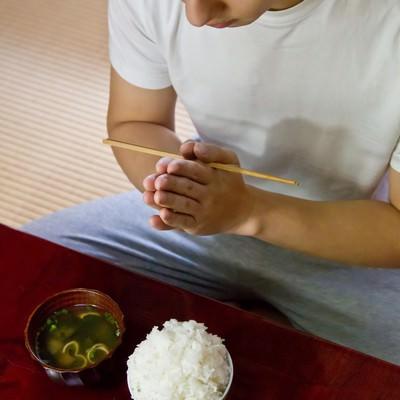 「ご飯とみそ汁頂きます!」の写真素材