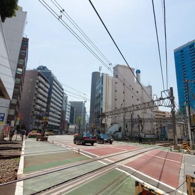 「代々木駅前の踏切」の写真素材