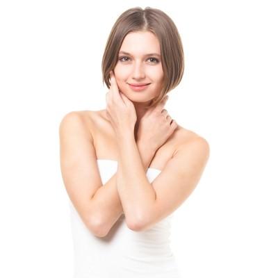 「健康な肌を大切にする女性(エステ・美容)」の写真素材