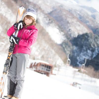 「スキーウェアにも最適なレイヤリング」の写真素材