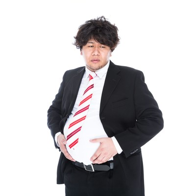 「【悲報】俺氏、13ヶ月連続で体重が増加し絶望www」の写真素材