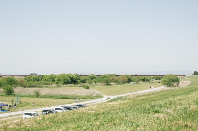 河川敷にあるドローン練習場(古河市)の写真