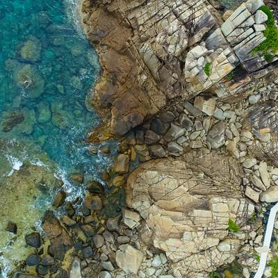 徳之島ムシロ瀬上空からの撮影の写真