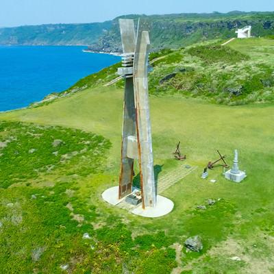 徳之島にある戦艦大和慰霊塔(空撮)の写真