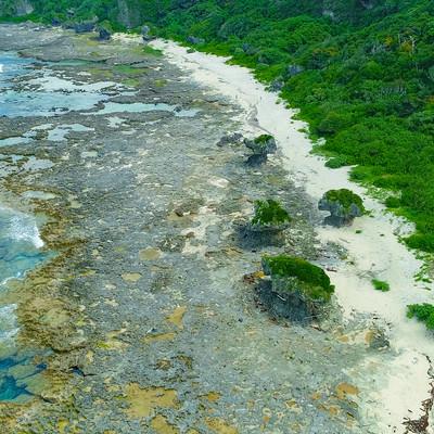 「犬の門蓋の奇岩と徳之島の青い海(空撮)」の写真素材