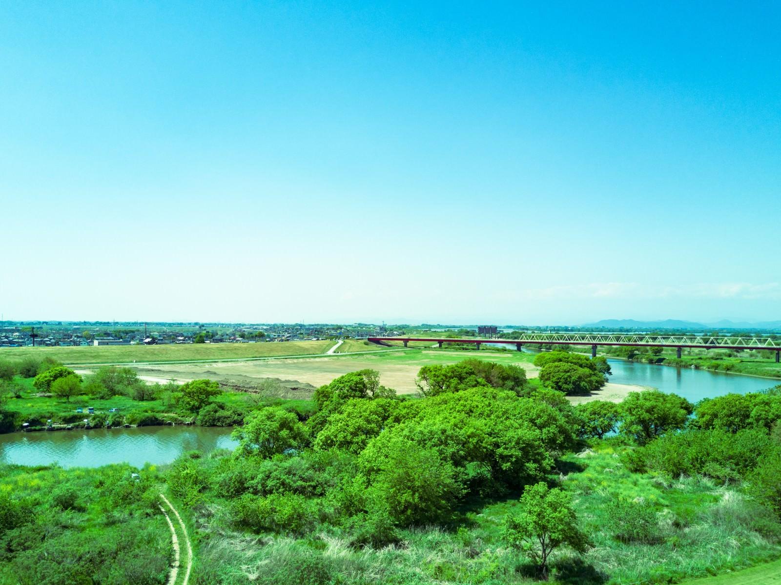渡良瀬川上空のフリー素材