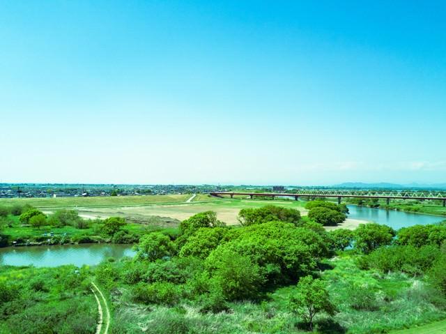 渡良瀬川上空の写真