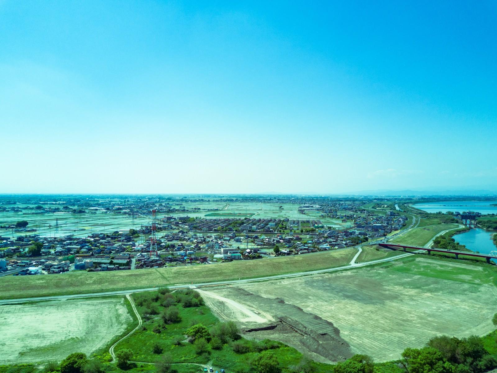 「渡良瀬川の河川敷(空撮)」の写真