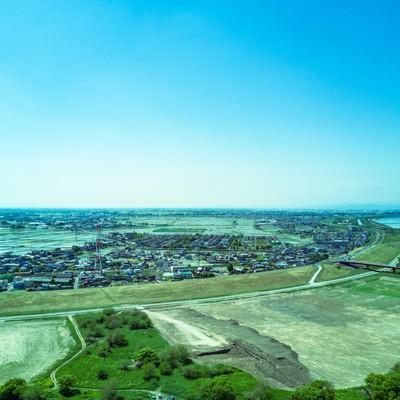 渡良瀬川の河川敷(空撮)の写真