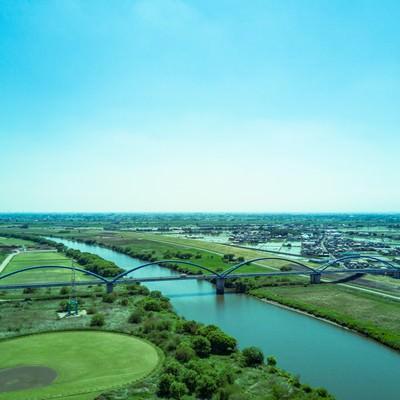 「渡良瀬川と街並み(空撮)」の写真素材