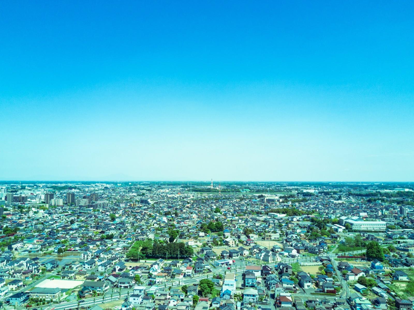 「古河市ドローン練習場上空からの街並み」の写真