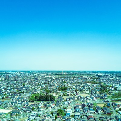 「古河市ドローン練習場上空からの街並み」の写真素材