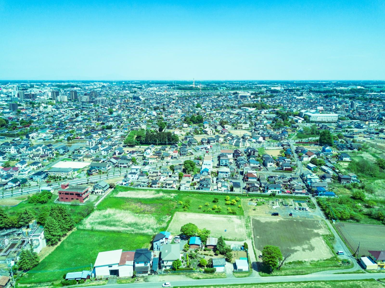 「上空100m付近の街並み」の写真