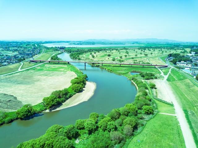 渡良瀬川と渡良瀬遊水地が見える(空撮)の写真