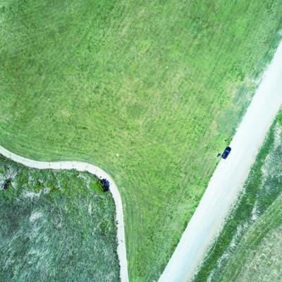 「リバーフィールド古河のドローン練習場を撮影」の写真素材