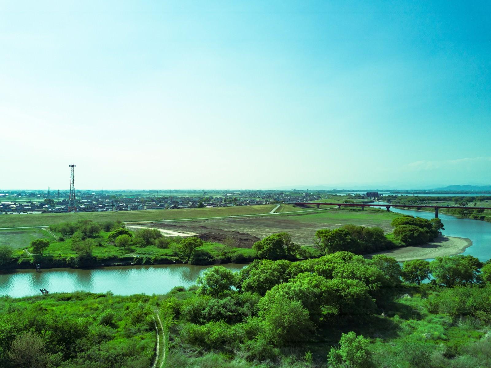「渡良瀬川を空撮」の写真