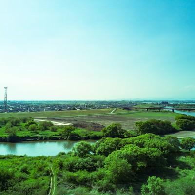 渡良瀬川を空撮の写真