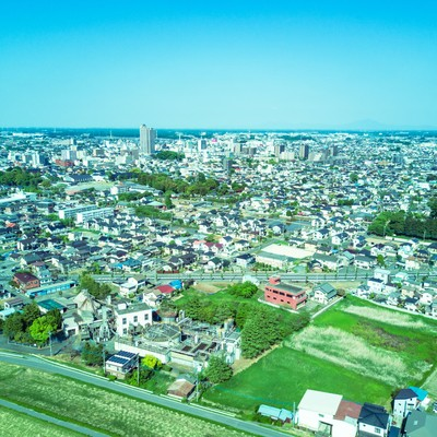 古河市ドローン練習場の空撮の写真