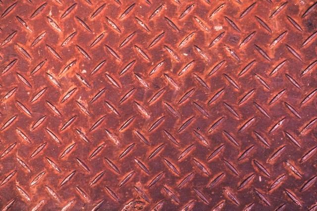 赤く錆た足場板(テクスチャー)の写真