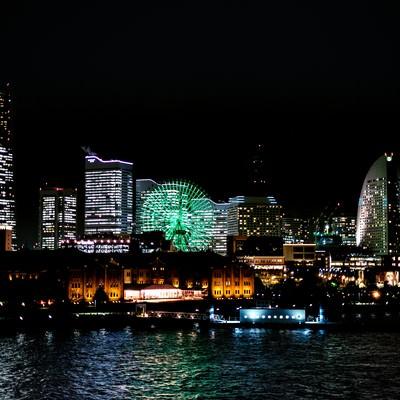 「横浜みなとみらいの夜景」の写真素材