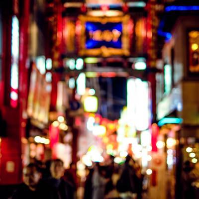 「横浜中華街(ピンぼけ)」の写真素材