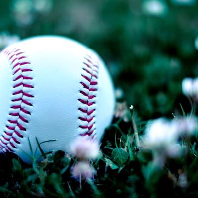 「外野に転がった硬球」の写真素材