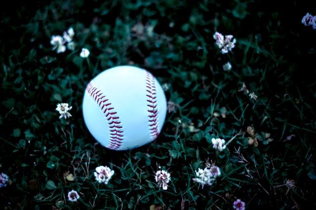 足元に転がる野球のボールの写真