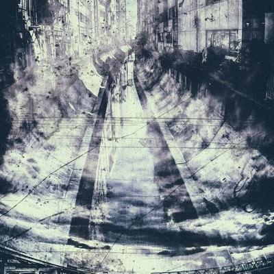 「ビルに挟まれ流れる川(フォトモンタージュ)」の写真素材