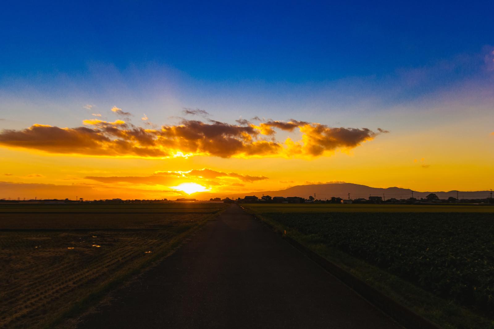 「大刀洗の夕暮れ(夕陽)」の写真