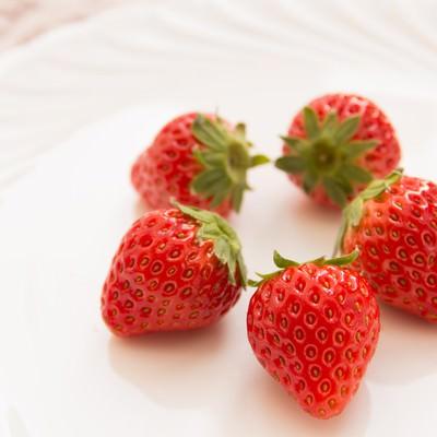 「お皿に盛られた苺」の写真素材