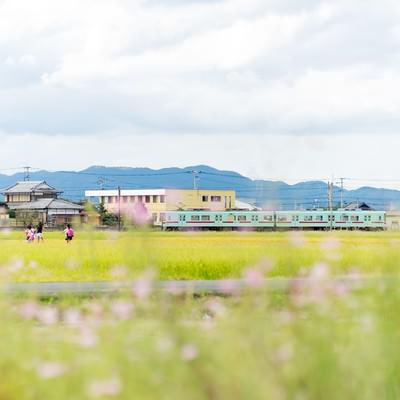「西鉄電車と田園風景(福岡県大刀洗町)」の写真素材