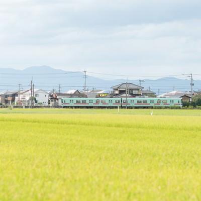 「大刀洗町の田園の中を走る西鉄電車」の写真素材