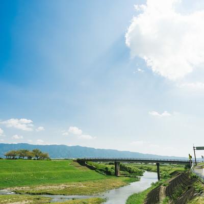 「大刀洗小石原川と河川敷の様子」の写真素材