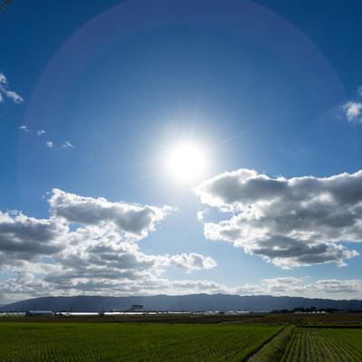 「大刀洗の平野と日輪」の写真素材