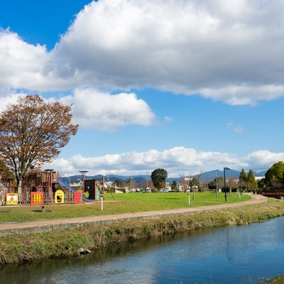 「のどかな大刀洗公園の様子」の写真素材