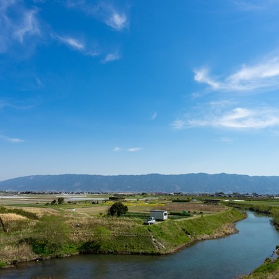 「大刀洗小石原川の様子」の写真素材