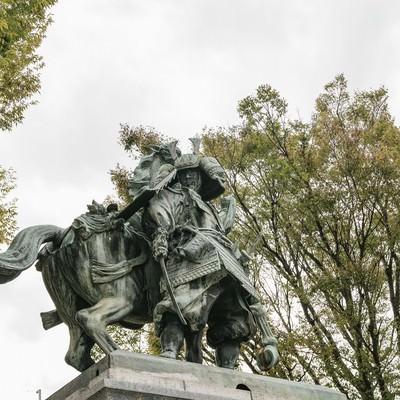 「大刀洗公園と菊池武光像」の写真素材