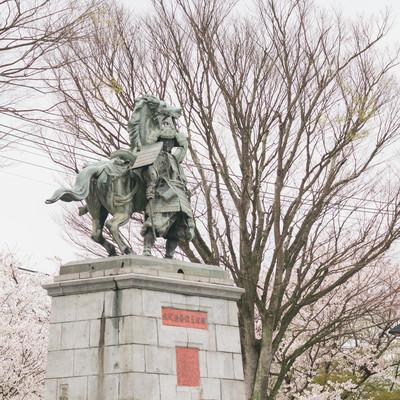 「大刀洗公園の菊池武光像と桜」の写真素材
