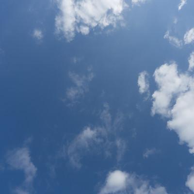 「よく晴れた日の空と雲」の写真素材
