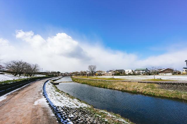 雪が降った後の大刀洗公園の写真