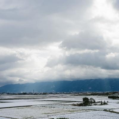 「大刀洗の冬(積雪)」の写真素材